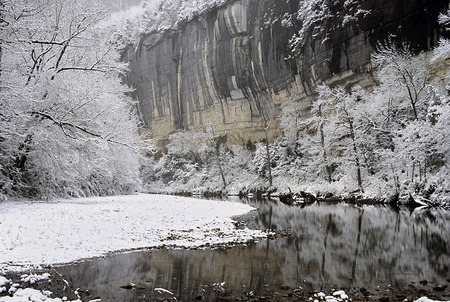 Snowy reflection on the Buffalo River 2003