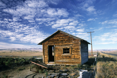Old Cabin and Cloudscape in Wyoming, 2006